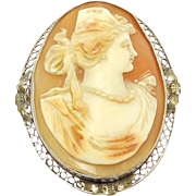 SALE Edwardian 10K Filigree Carved Shell Cameo Portrait Brooch