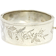 SALE Victorian English Sterling Aesthetic Engraved Bangle