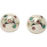 Retro Sterling Turquoise & Ruby Dome Earrings