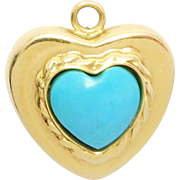 SALE Signed 14K Italian Persian Turquoise Heart Charm Pendant