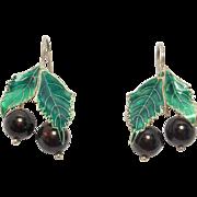 Vintage Cloisonne Enamel & Garnet Holly Earrings