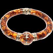 Italian Enamel Leopard Print Milor Sterling Bangle Bracelet