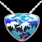 SALE Incredible Artisan Cloisonne Pendant Signed & Silver