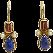Beautiful Vermeil Garnet Lapis & Seed Pearl Earrings