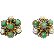 Ornate Jade & Cultured Pearl Enamel Gilt Silver Earrings