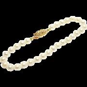 Elegant 5mm Cultured Pearl Bracelet 14K Filigree Clasp
