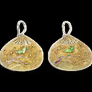 Silver Cloisonne Enamel Fan Earrings Vermeil