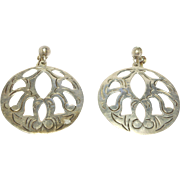 Ornate Pierced Mexican Silver Earrings Vintage