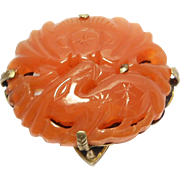 Deco Carved Carnelian Dress Clip Chinese Marked