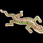SALE Victorian 14K Gem Set Paste Lizard Brooch Extraordinary