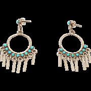 Turquoise Southwest Petit Point Drop Earrings