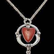Arts & Crafts Amber Pendant 826S Skonvirke Heart
