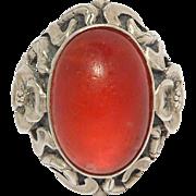 Rare Nouveau Sterling Floral Dragon's Breath Ring