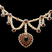 SALE Victorian Bohemian Garnets Heart Locket Festoon Necklace Rare