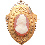 14K Etruscan Victorian Hardstone Sardonyx Agate Cameo Brooch