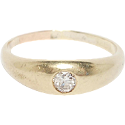 Victorian 18K Baby Or Pinky Ring With Diamond Gypsy Set