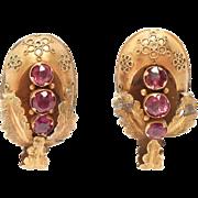 Victorian 10K Gold Front Etruscan Rhodolite Garnet Earrings
