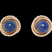 14K Estate Lapis Ball Stud Earrings Nice Design