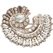 Large Ornate Sterling Eisenberg Rhinestone Brooch