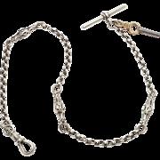 Ornate Victorian Silver Albert Fancy Link Watch Chain W/Key Fob