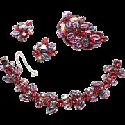 Gorgeous Ruby Red Aurora Regency Bracelet Brooch Earrings Parure