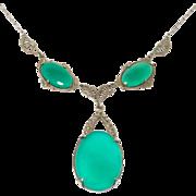 Art Deco Marcasite Filigree & Chrysoprase Necklace