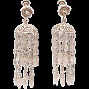 Fun Vintage Ethnic Silver Filigree Tiered Dangle Earrings