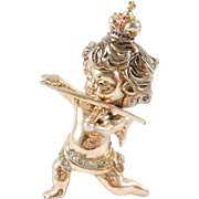 Sterling Corocraft Figural Cupid Violinist Brooch