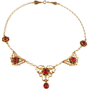 Elegant Ruby Crystal Filigree Deco Necklace