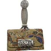 Meiji Period Embroidered Silver Ornate Floral Tobacco Pouch