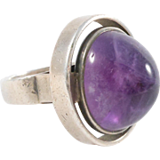 Mid Century Modernist Signed Amethyst Domed Cabochon Silver Ring