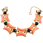 Vintage Juliana Delizza And Elster Faux Coral & Rhinestone Bracelet