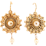 Estate 14K Filigree Etruscan & Cultured Pearl Dangle Earrings