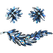 Flashy Cobalt Rhinestone Regency Brooch & Earrings Set