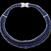 Estate Fine 14K Diamonds & Faceted Sapphire Five Strands Beaded Necklace