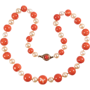 Gorgeous Natural Coral Beads With Cultured Pearls Antique 8-13mm Size