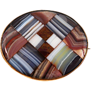 Victorian Plaid Scottish Banded Agate Brooch 1880'S