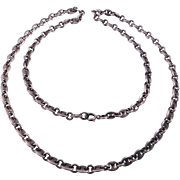 Vintage Rolo Cable Link Ornate Sterling Chain Necklace