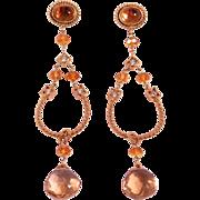 Elegant Dangling 14K Citrine & Diamonds Estate Earrings