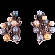 Fine Vintage Ming's Of Hawaii Cultured Pearl Silver Earrings