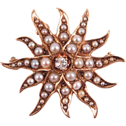 Victorian 14K Seed Pearls & Diamond Starburst Pendant Brooch