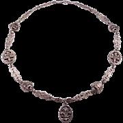 Italian 800 Silver Fleur De Lis Foliate Silver Figural Chain Necklace