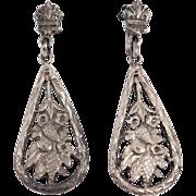 Italian Antique 800 Silver Ornate Foliate Earrings Dangle