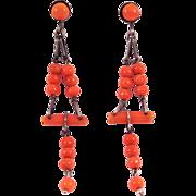 Art Deco Salmon Coral Silver Drop Earrings Fun