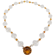 Art Deco 14K Madeira Citrine And Crystal Beads Necklace