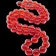 Cherry Amber Bakelite Beads Necklace Art Deco Long Strand 91 Grams 13mm