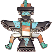 Old Pawn Zuni Silver Knifewing Inlay Brooch Turquoise Large