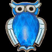 David Andersen Norwegian Blue Owl Brooch 925S Mint