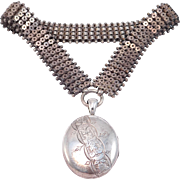 Victorian 1880'S Silver Engraved Locket With Wide Bookchain Collar