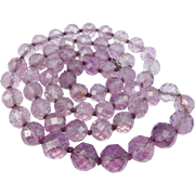 Art Deco Faceted Natural Amethyst Beads Beautiful Knotted